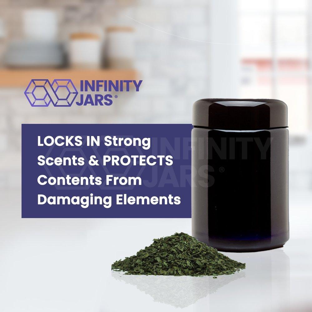 Black Ultraviolet Refillable Empty Glass Screw Top Jar 10-Pack 8.5 oz Infinity Jars 250 ml