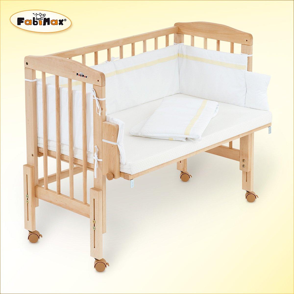 Fabimax–Lettino Pro con materasso comfort e paracolpi, piccole stelle, bianco FabiMax GmbH