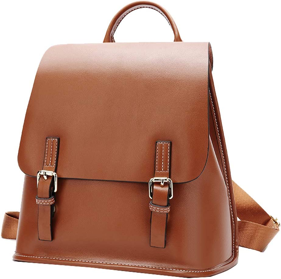 Heshe Women s Leather Backpack Casual Daypack Style Flap Backpacks for Ladies Brown