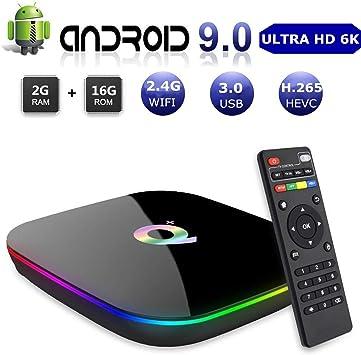DeWEISN TV Box, Q Plus Android 9.0 Box TV 2GB RAM 16GB H6 Quad-Core Cortex-