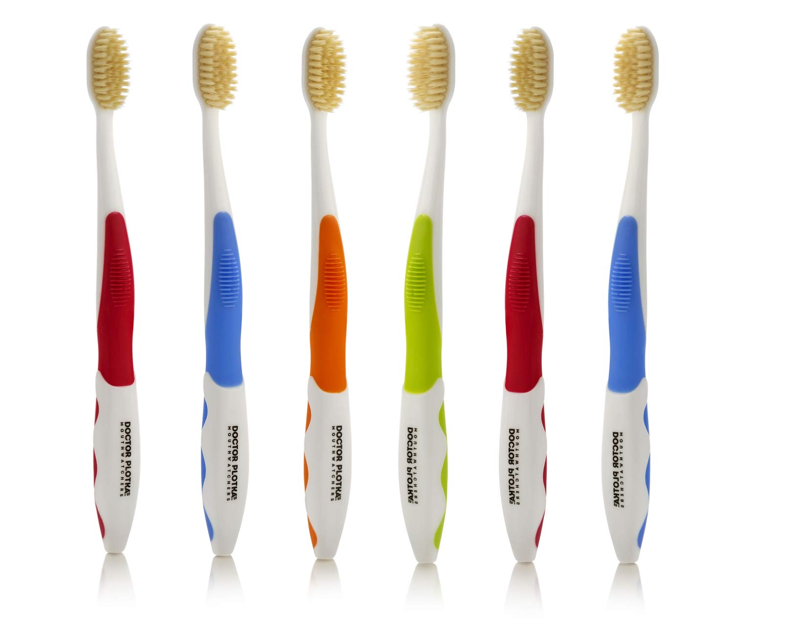 Doctor Plotka's Mouthwatchers Antimicrobial Floss Bristle Silver Toothbrush, Adult, 6 Pack