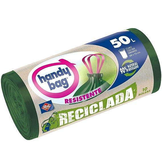 Handy Bag Bolsas de basura recicladas, 50 l, autocierre, resistentes, antigoteo, 10 unidades