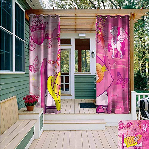 Homestyles Bedroom Bed - Curtains for Bedroom,Princess Bedtime Fairytale Unicorn,Waterproof Patio Door Panel,W72x96L