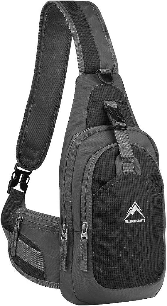 LXFF Mens Leather Sling Bag Chest Bag Pack Backpack Shoulder Crossbody Bags For Men Travel Hiking Daypack Black