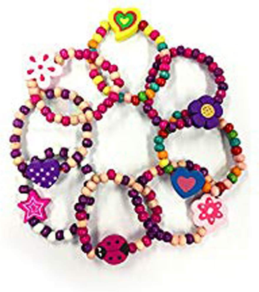 Mehrfarbig Ideal als Goody Beute Partyt/üte F/üller Juwelen 8 x Bunt Holz M/ädchen Armb/änder