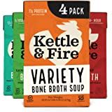 Bone Broth Variety Pack by Kettle and Fire, Pack of 4, Chipotle Beef, Lemongrass Ginger Beef, Coconut Curry & Lime…