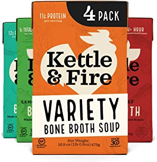 product image for Bone Broth Variety Pack by Kettle and Fire, Pack of 4, Chipotle Beef, Lemongrass Ginger Beef, Coconut Curry & Lime Chicken, and Turmeric Ginger Chicken Bone Broths, Organic Vegetables, 16.9 fl oz