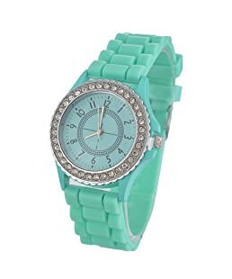 Loweryeah Women Rhinestone Dial Quartz Watch Casual Wrist Watch with Silica Gel Band(Green)
