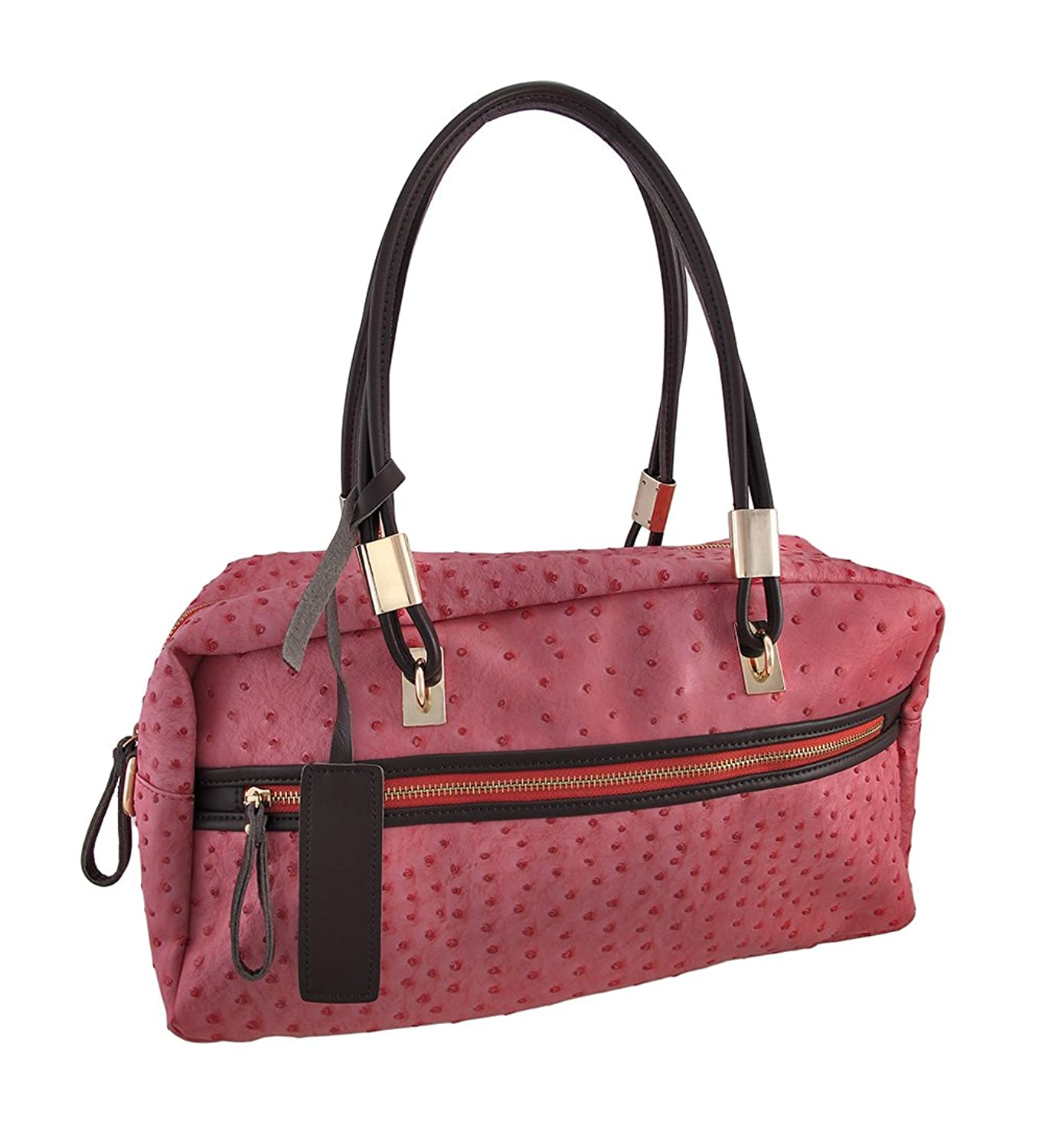 Embossed Ostrich Shoulder Bag with Brown Leather Trim