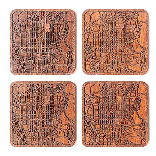 Kyoto Map Coaster by O3 Design Studio, Set of 4, Sapele Wooden Coaster with city map, Multiple city optional, Handmade