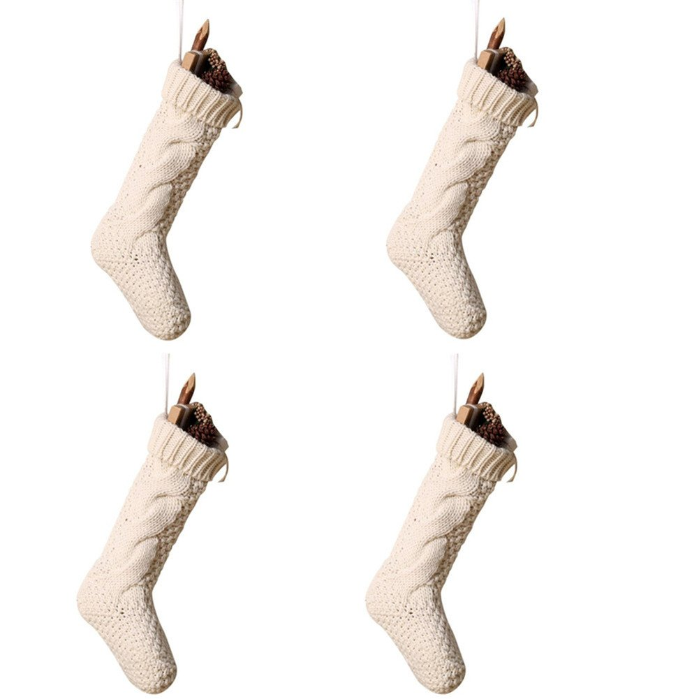 Pack 4,18'' Unique Ivory White Knit Christmas Stockings by Goege Bailey