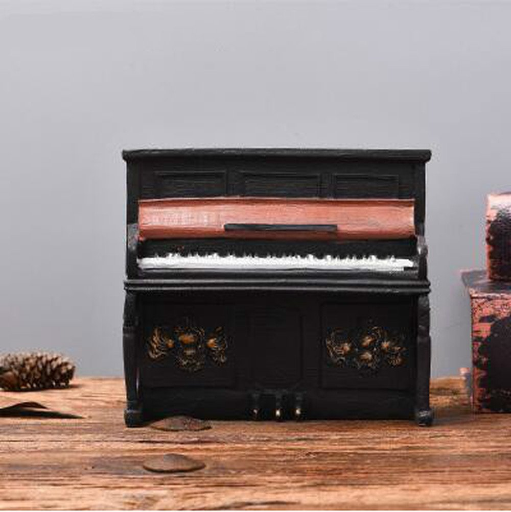 BWLZSP 1 PCS Retro resin piano model display props American country bookcase cafe window decorations ornaments AP5251408