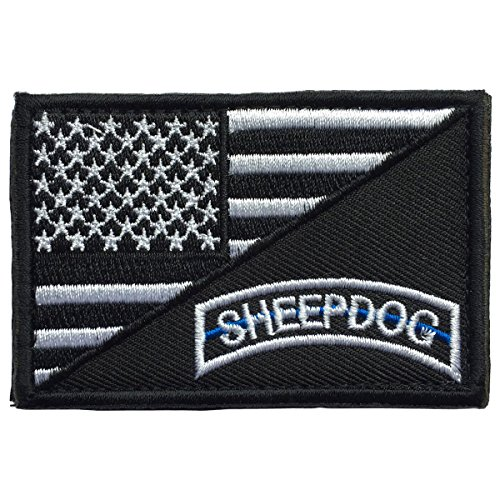 SpaceCar Decorative Sheepdog w/ USA American Flag Thin Blue
