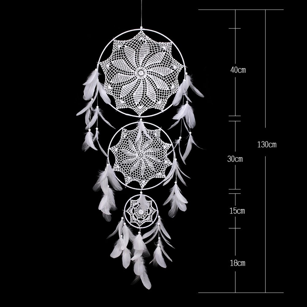 51.2 in Total Length DALU.A.F Boho Dream Catcher Large Handmade Traditional Native American Dreamcatcher 3 Round Circles with Luxurious White Feathers Wedding Ornament Wall Hanging Decoration