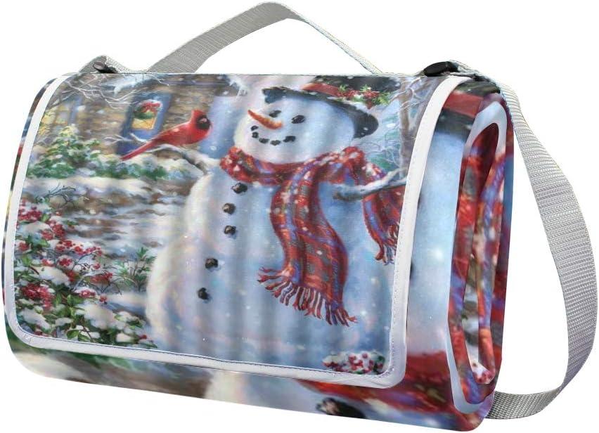 XINGAKA Coperta da Picnic Tappetino Campeggio,Pupazzo di Neve Felice E Nevicate,Giardino Spiaggia Impermeabile Anti Sabbia 8