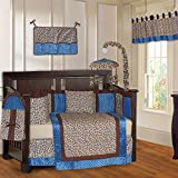 BabyFad Leopard Blue 10 Piece Baby Crib Bedding Set
