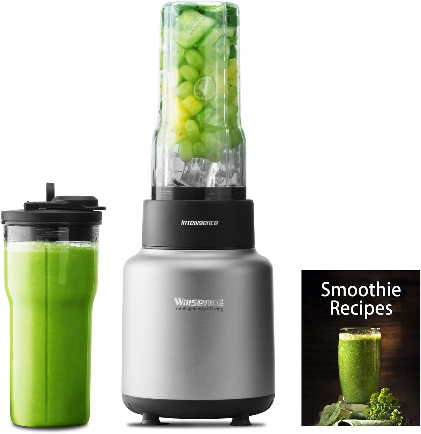 Blender, smoothie blender 30000 RPM/Min, 1500W High Speed Blender with NUTRI-IQ Intelligent System, 6 different edges Stainless Steel blade, BPA-Free 2 x 24 OZ Tritan Travel Cups, Recipe Book included