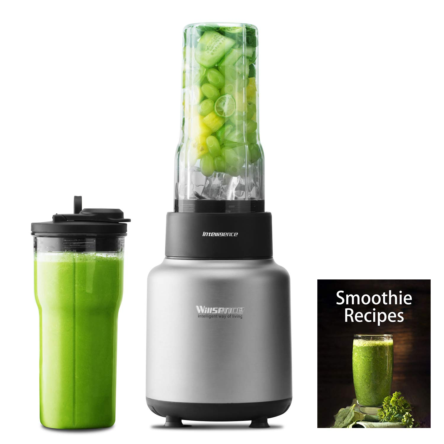 Blender Smoothie Blender Willsence Personal blender for Shakes and Smoothies, NUTRI-IQ Intelligent Identification of Food Hardness 900W 1500W, 2 x 24 oz to-go Tritan Cups BPA Free with Spout Lids