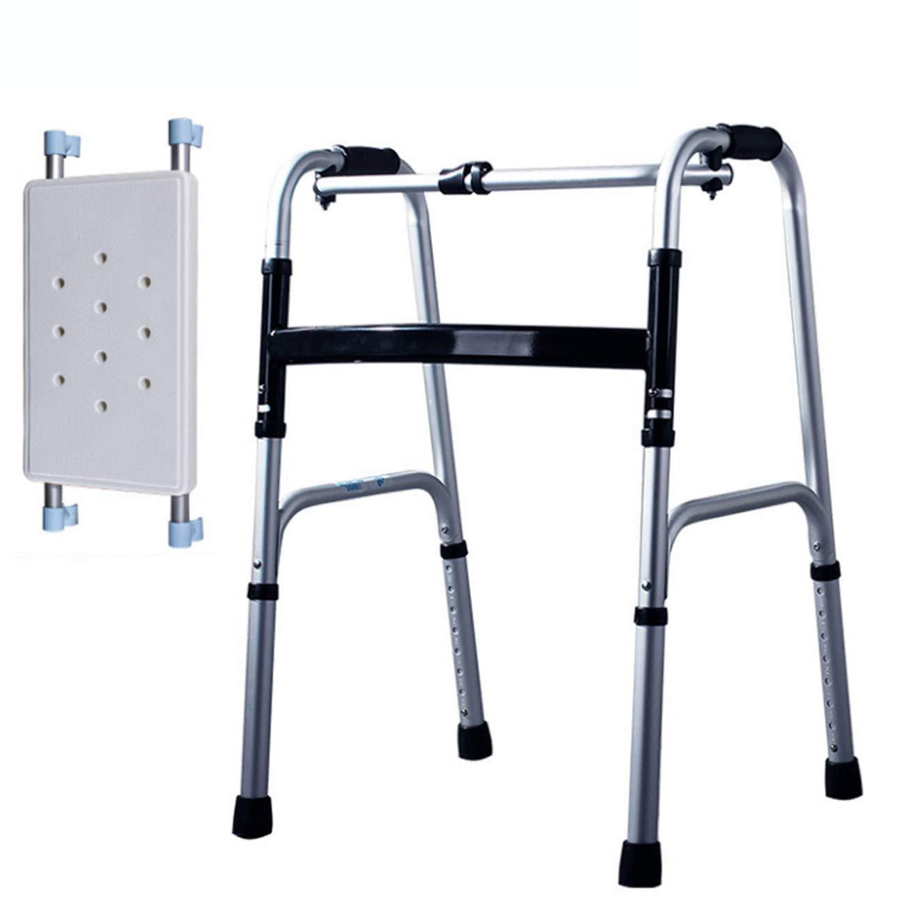 Tochange Leichte Aluminium Gehhilfe, Klapp-Dual-Use-Gehhilfe mit Badebrett, der behinderte Elder rehabilitiert