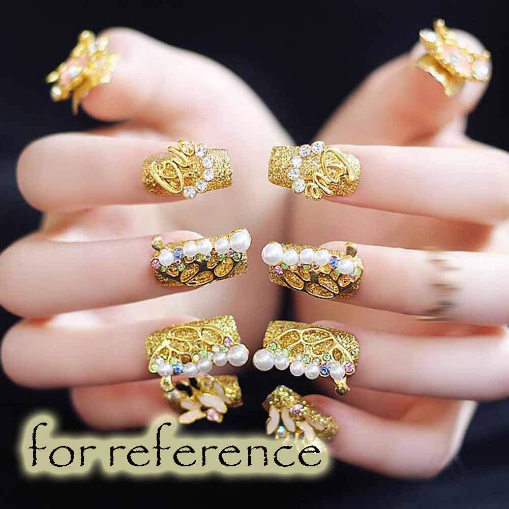 Mariposa - uñas falsas del color oro de la boda extremidades ...