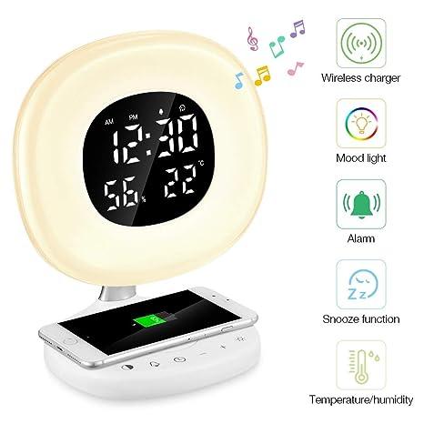 Reloj despertador Mondeer de 1 PC con cargainalámbricaQi despertador Light despertador digital LED Sunrise 7 de