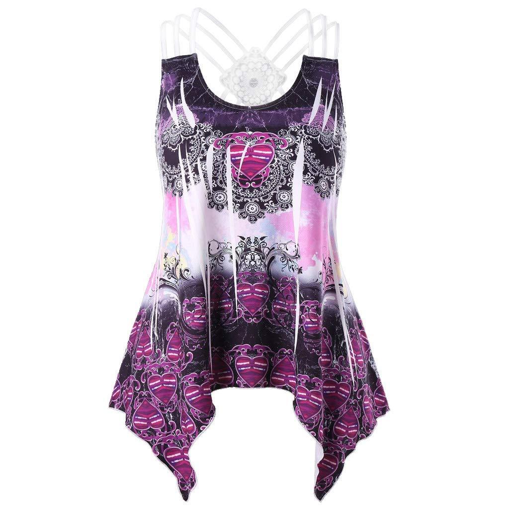 Boho Tops for Women, White Short Sleeve Blouse,Fashion Women Printed Tank Up Sleeveless Vest O-Neck Lace Bandage Blouse