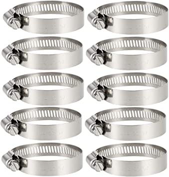 10-16mm Worm Gear Hose Clamp 304 Stainless Steel Fuel Line Clamp 10 Pcs