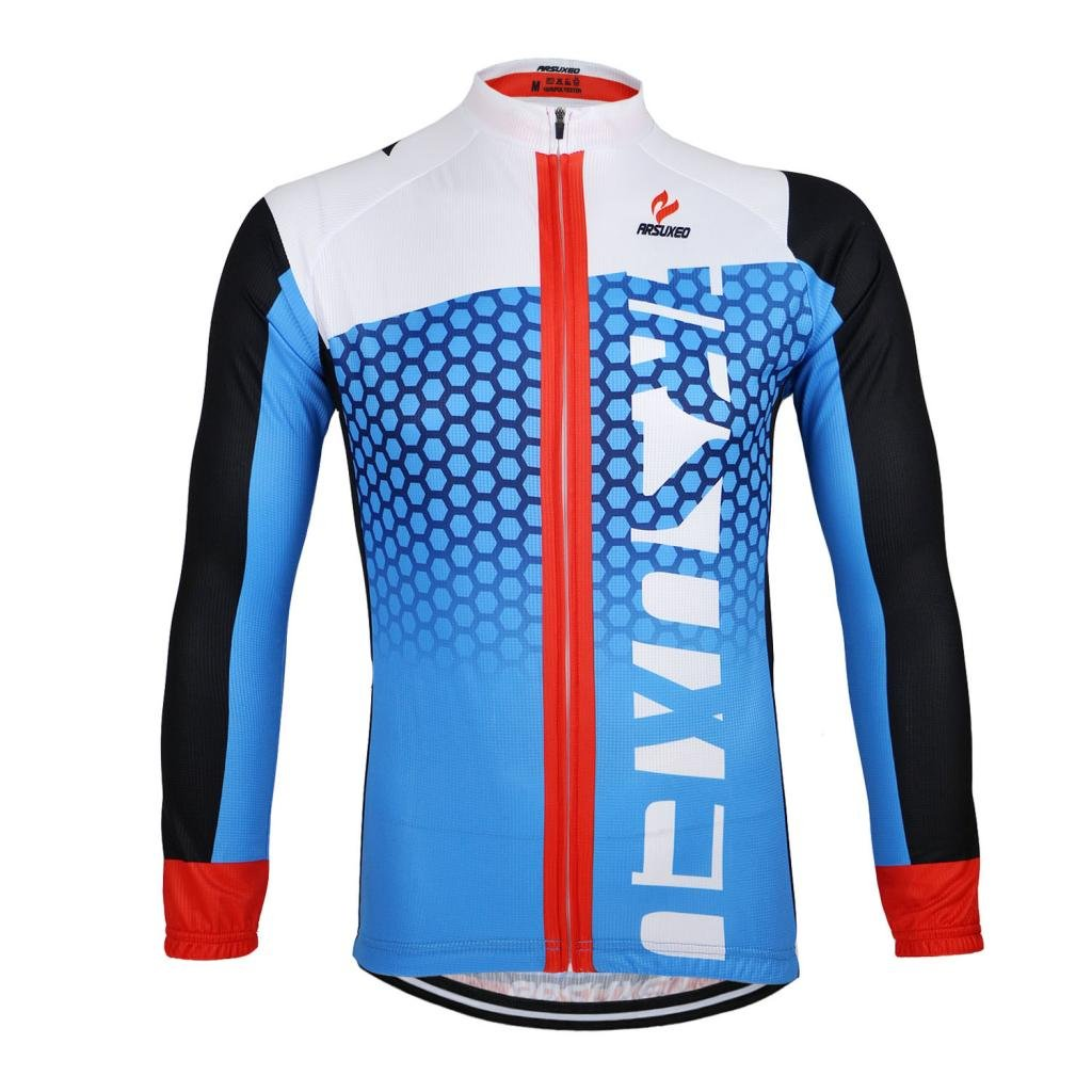 ARSUXEO Outdoor Sports Cycling Bike Bicycle Long Sleeves Quick Dry Fitness Jersey