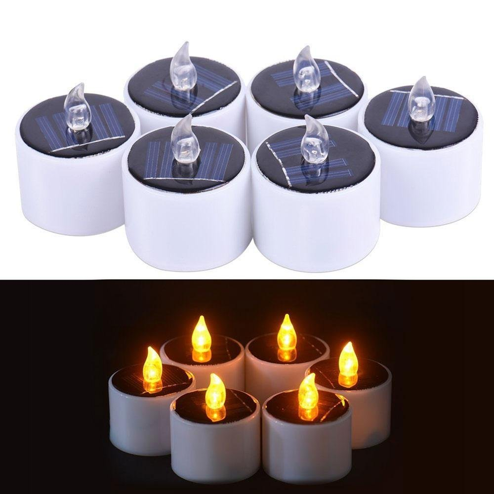 Pawaca 6 PCS LED Candles Romantic Waterproof Light Sense Solar Candle Tealights for Camping Traveling Outdoor Home Party Dinner Decoration (Style A)