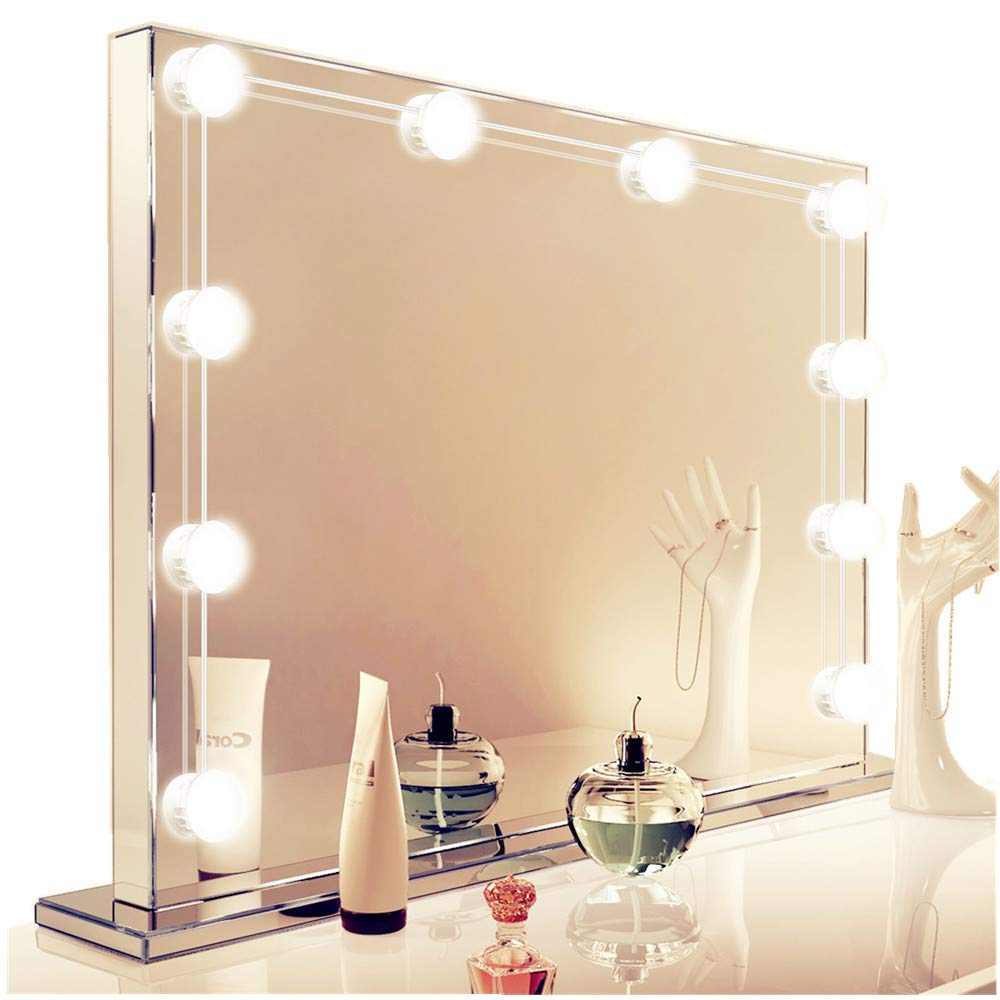 Vanity Mirror Light for Women, Howllywood Style LED Lights Set for Makeup, 10 LED Dimmable Light Bulbs with USB Plug, Vanity light kit Perfect for Bathroom Dressing room Wall( Mirror Not Included)