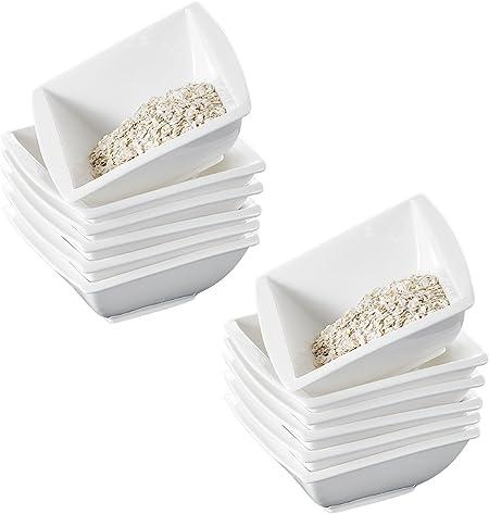 S/érie Blance 24 Bols /à C/ér/éales Porcelaine Bols /à Tapas et Sauces pour 24 Personnes MALACASA Bols /à Soupe