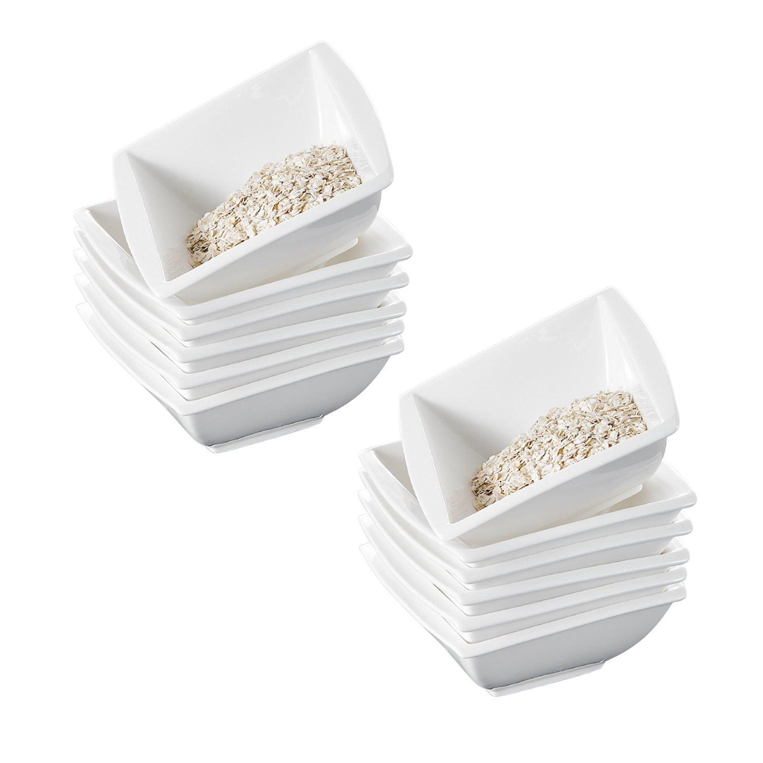 MALACASA, Serie Blance, 5,75 Zoll 12 TLG. Porzellan Schüsseln Set Salatschüsseln Müslischalen Reisschale für 12 Personen