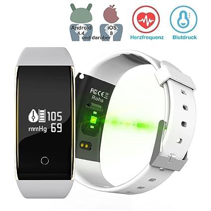 Kingberwi Impermeable IP67 Pulsera de Actividad con Pulsómetro, Bluetooth Fitness Tracker Pulseras con Tensiómetro Arterial