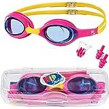 KidSwim - Gafas de natación para niños de 4 a 12 años, sin fugas, resistentes al agua, lentes antivaho y correa de…