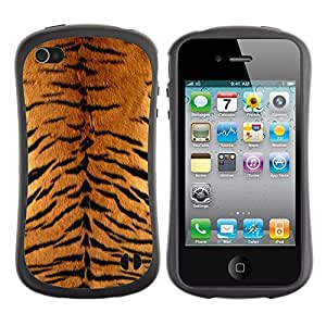 Suave TPU Caso Carcasa de Caucho Funda para Apple Iphone 4 / 4S / Tiger Furry Pattern Animal Wild Big Cat / STRONG