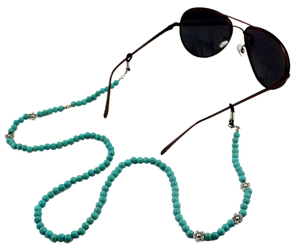 Ababalaya Vintage Strap Anti-Skid Floral Beads Cord Metal Sunglasses Thin Chain,Blue