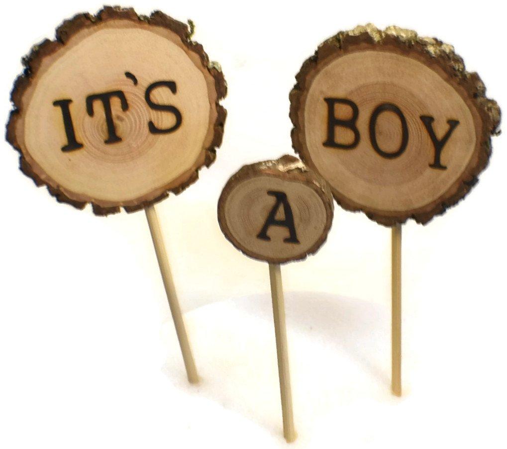 OzarkCraftWood It's a Boy Cake Topper Rustic Woodland Baby Shower
