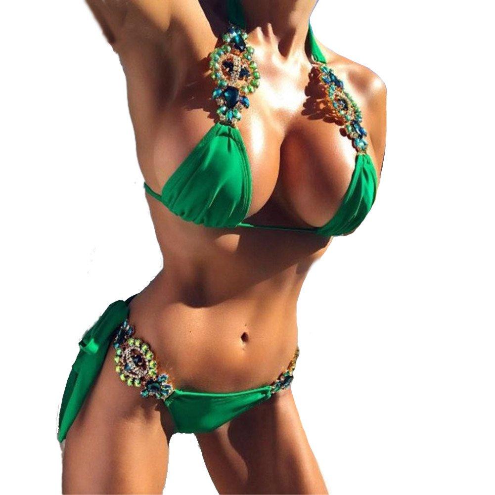 YAOYUE US Womens Crystal Jewelry Bandage Bikini Sets Sexy Triangle Bathing Suts Two Pieces Swimsuits Swimwear (M, Green)