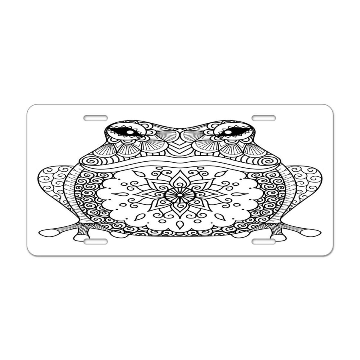 Mugod Eyes Aluminum License Plate Cartoon Face with a Smiling Expression on Orange Background Decorative Car License Plate Cover with 4 Holes Car Tags 6x12