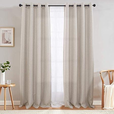 Amazon Com Jinchan Curtains For Bedroom Linen Textured Room