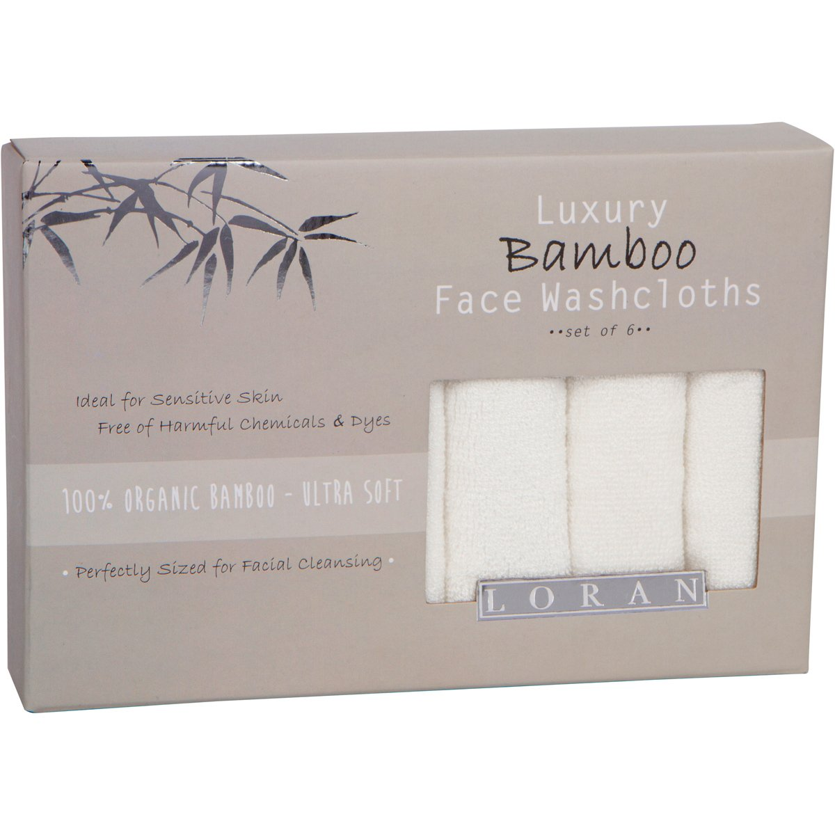 Luxury Bamboo Facial Washcloths, Set of 6, white, 10''x10'' by LORAN