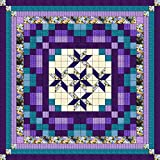 Easy Quilt Kit Nine Patch Star Lily Purple/Aquas/Queen/EXPEDITED SHIPPING