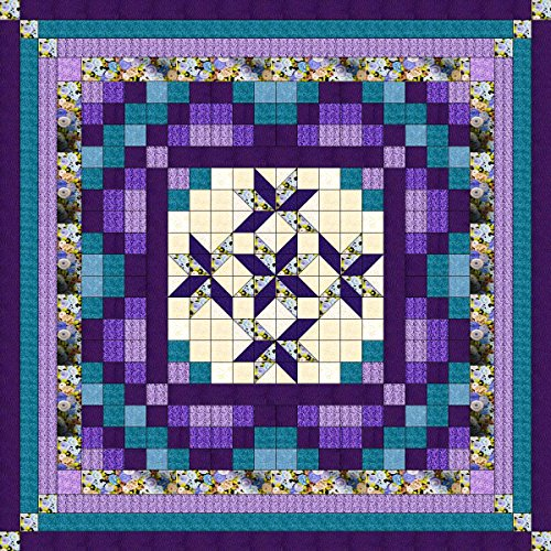 Easy Quilt Kit Nine Patch Star Lily Purple/Aquas/Queen/EXPEDITED SHIPPING by Galaxy/RJR