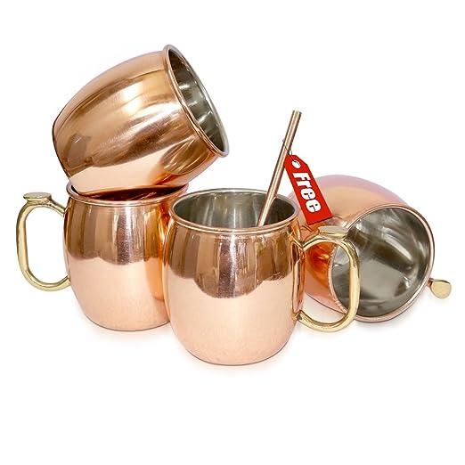 Taza de cobre macizo Rudra ® Moscú Mule 18 oz / 532 ML - Juego de 4, - Acabado lacado en níquel de mejor calidad, Copa cóctel de mula de Moscú, ...