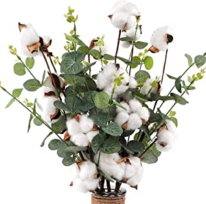 "CEWOR 6pcs 21"" Cotton Stems 4 Cotton Heads with Eucalyptus Leaves for Home Farmhouse Style Floral Decoration"