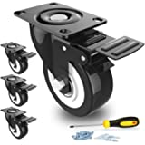 2' Swivel Caster Wheels with Safety Dual Locking and Polyurethane Foam No Noise Wheels, Heavy Duty - 150 Lbs Per Caster…