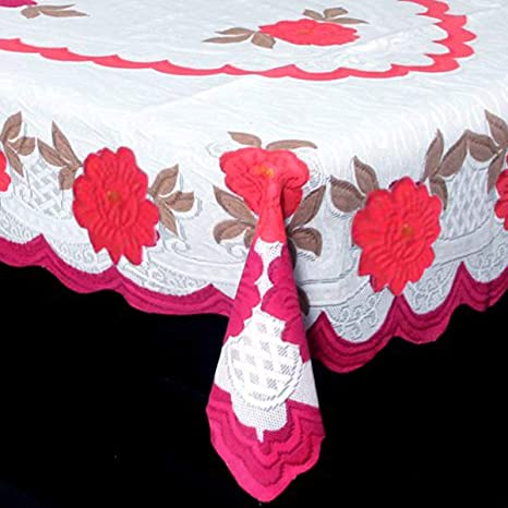 84b21db9b78 Buy Kuber IndustriesTM Center Table Cover Cream   Pink Cloth Net for 4  Seater 40   60 Inches (Round Flower Design) Code-CTC05 Online at Low Prices  in India ...