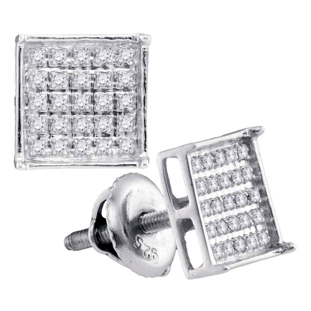 I2-I3 clarity; J-K color FB Jewels 14kt White Gold Unisex Round Diamond Square Cluster Stud Earrings 1//6 Cttw
