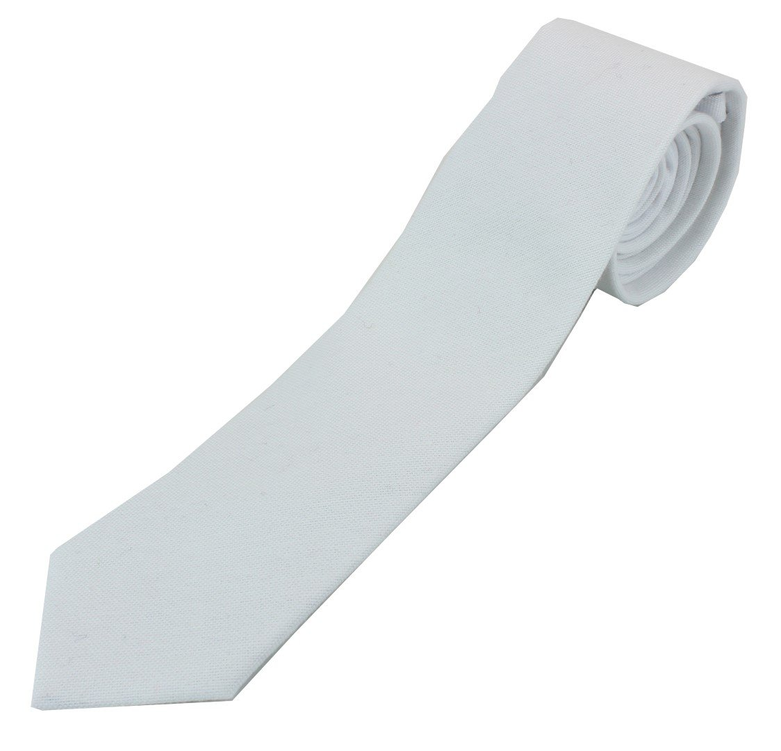 Men's Cotton Skinny Necktie Tie Bright Oxford Weave Pattern - White