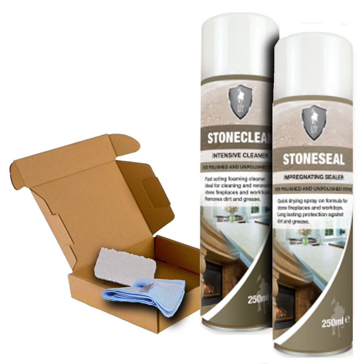 LTP Stone Care Set for Fireplace and Worktops - Stoneclean, Stoneseal, Pad & Cloth